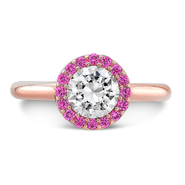 Tall Brilliant (Center Diamond with top Pink Sapphires) - Dafina Jewelry - 4