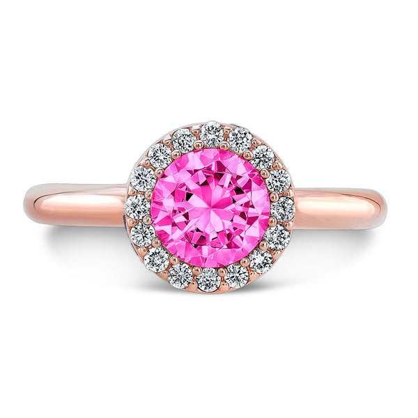 Tall Brilliant (Center Pink Sapphire with top and side Diamonds) - Dafina Jewelry - 4