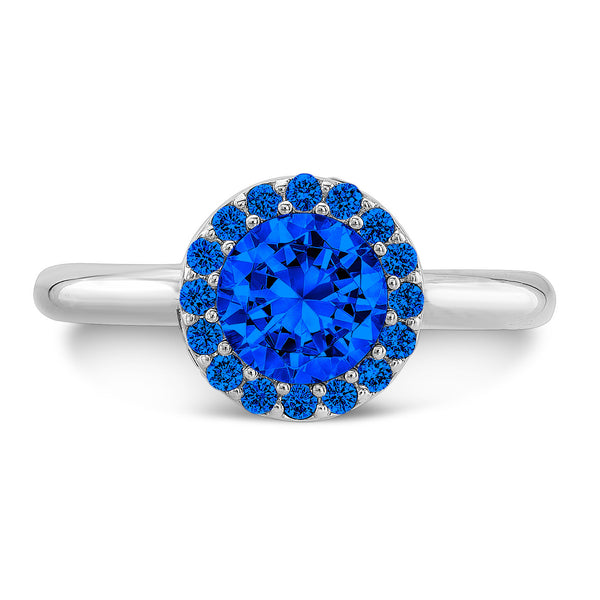 Tall Brilliant (Center and top Blue Sapphires) - Dafina Jewelry - 2