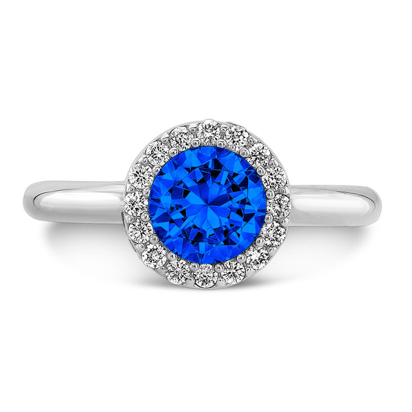 Tall Brilliant (Center Blue Sapphire with top and side Diamonds) - Dafina Jewelry - 2