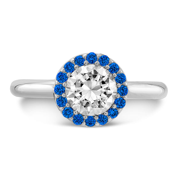 Tall Brilliant (Center Diamond with top Blue Sapphires) - Dafina Jewelry - 2