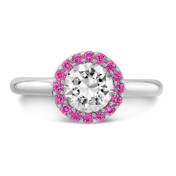 Tall Brilliant (Center Diamond with top Pink Sapphires) - Dafina Jewelry - 2