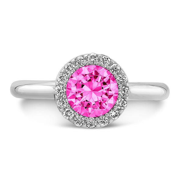 Tall Brilliant (Center Pink Sapphire with top and side Diamonds) - Dafina Jewelry - 2