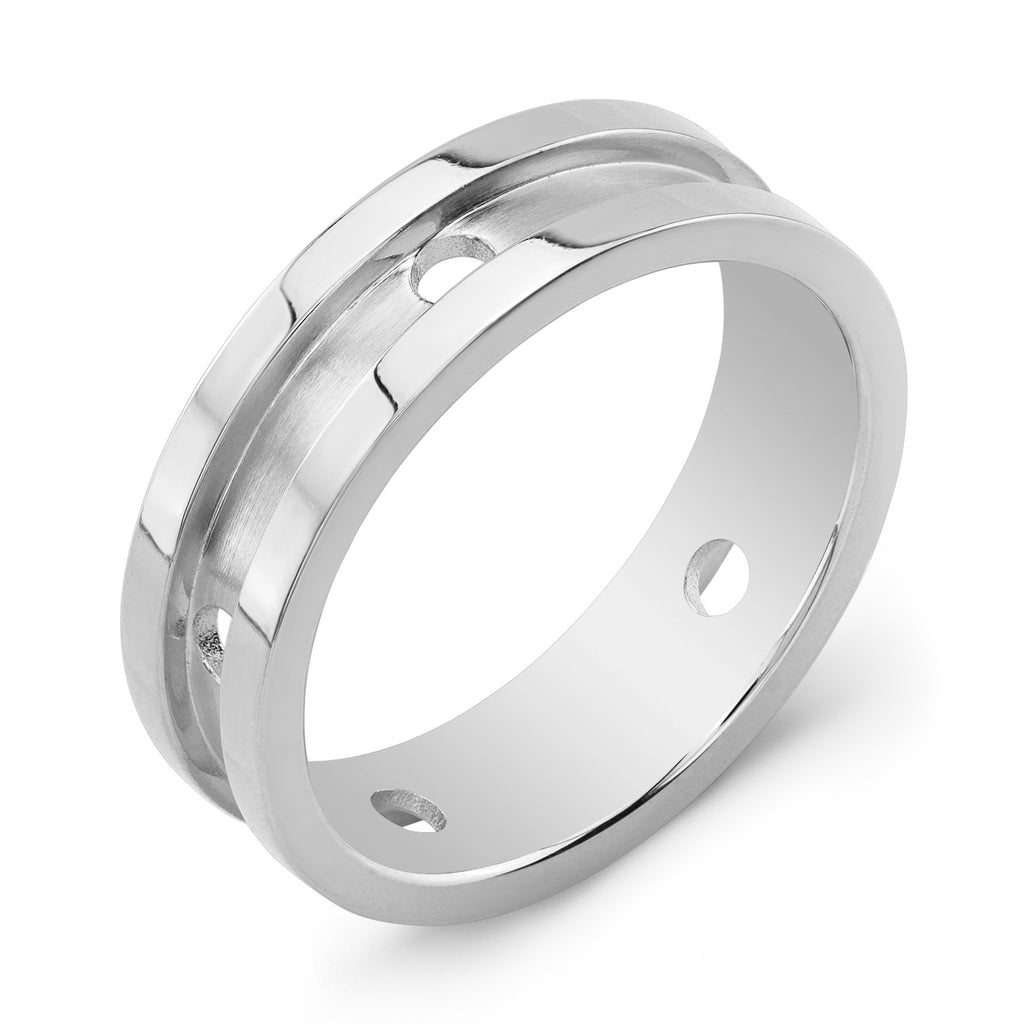 Dafina Circle for Him (White Gold Grooved) - Dafina Jewelry