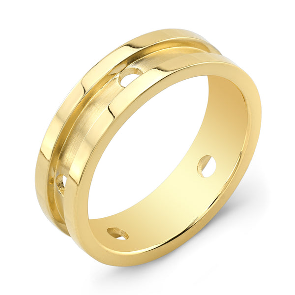Dafina Circle for Him (Yellow Gold Grooved) - Dafina Jewelry - 1