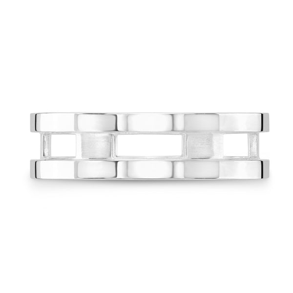 Dafina Rectangle for Him (White Gold Grooved) - Dafina Jewelry - 2