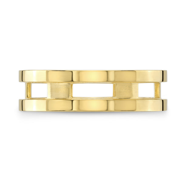 Dafina Rectangle for Him (Yellow Gold Grooved) - Dafina Jewelry - 2