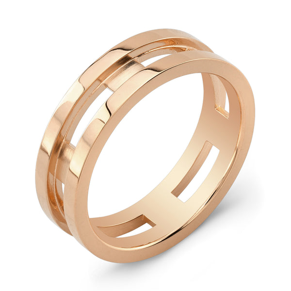 Dafina Rectangle for Him (Rose Gold Grooved) - Dafina Jewelry - 1