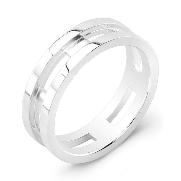 Dafina Rectangle for Him (White Gold Grooved) - Dafina Jewelry - 1