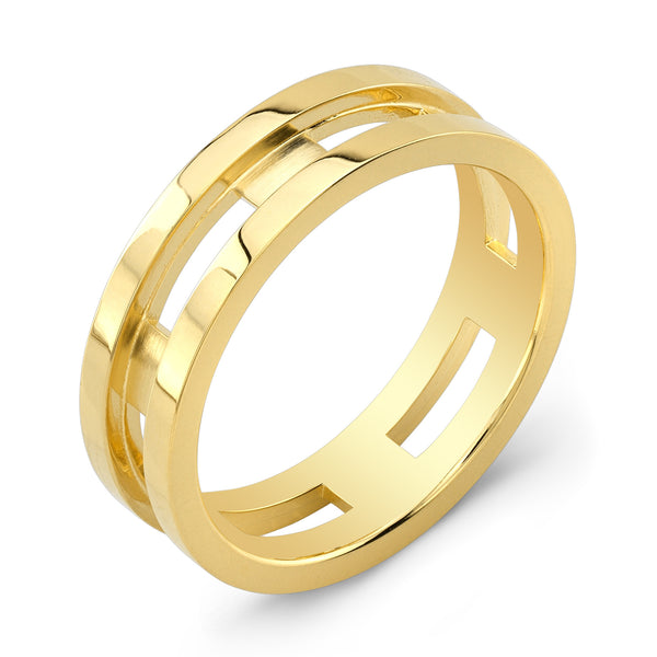 Dafina Rectangle for Him (Yellow Gold Grooved) - Dafina Jewelry - 1