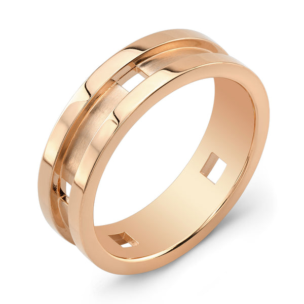 Dafina Square for Him (Rose Gold Grooved) - Dafina Jewelry - 1