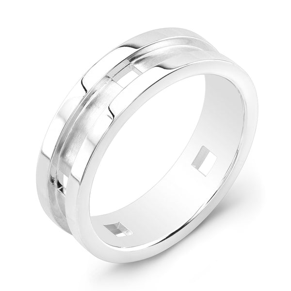 Dafina Square for Him (White Gold Grooved) - Dafina Jewelry - 1