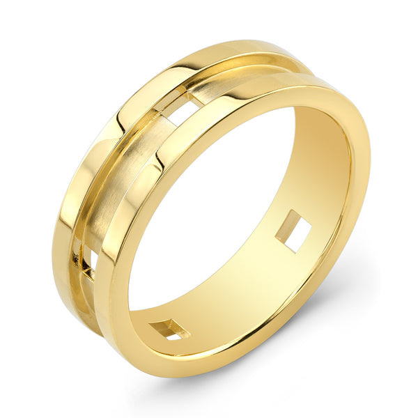 Dafina Square for Him (Yellow Gold Grooved) - Dafina Jewelry - 1