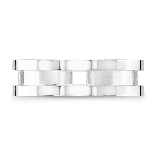 Dafina Square for Him (White Gold Grooved) - Dafina Jewelry - 2
