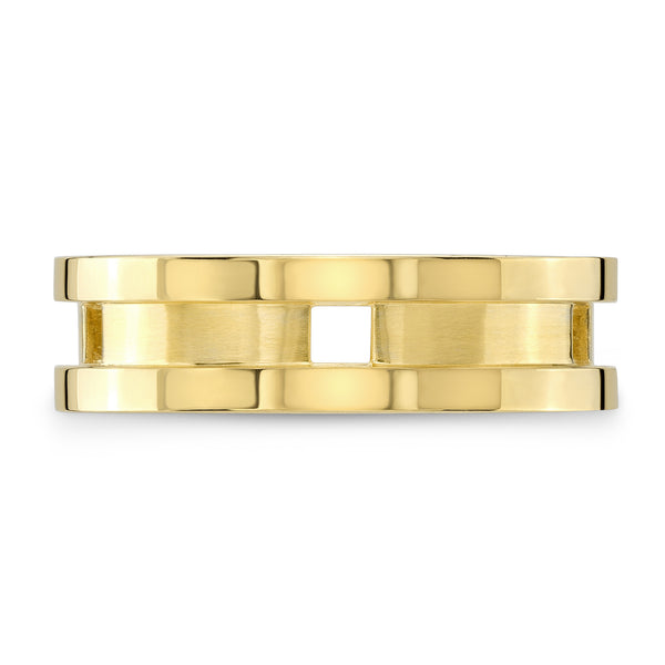 Dafina Square for Him (Yellow Gold Grooved) - Dafina Jewelry - 2
