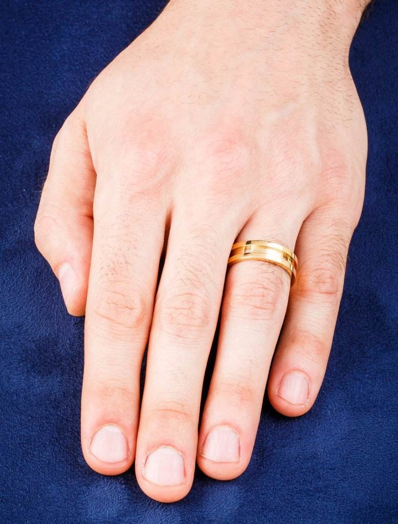 Dafina Square Wedding Band for Men with Groove in Yellow Gold