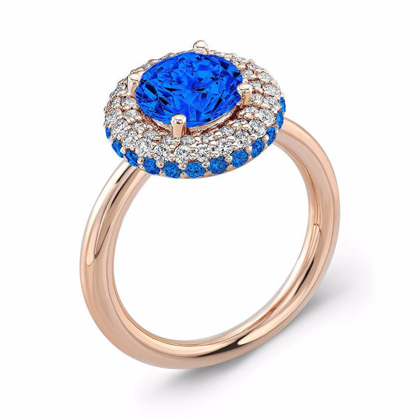 Diamond Roll (Blue Sapphire Engagement Ring with Blue Sapphire Accents)