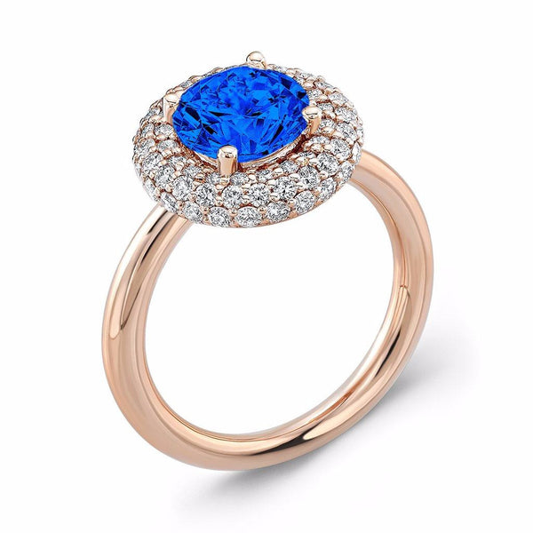 Diamond Roll (Blue Sapphire with Diamonds) - Dafina Jewelry - 3