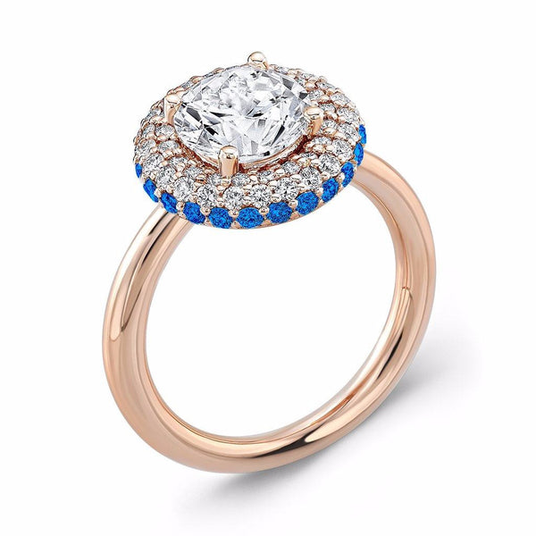 Diamond Roll (Diamond with Blue Sapphires) - Dafina Jewelry - 3