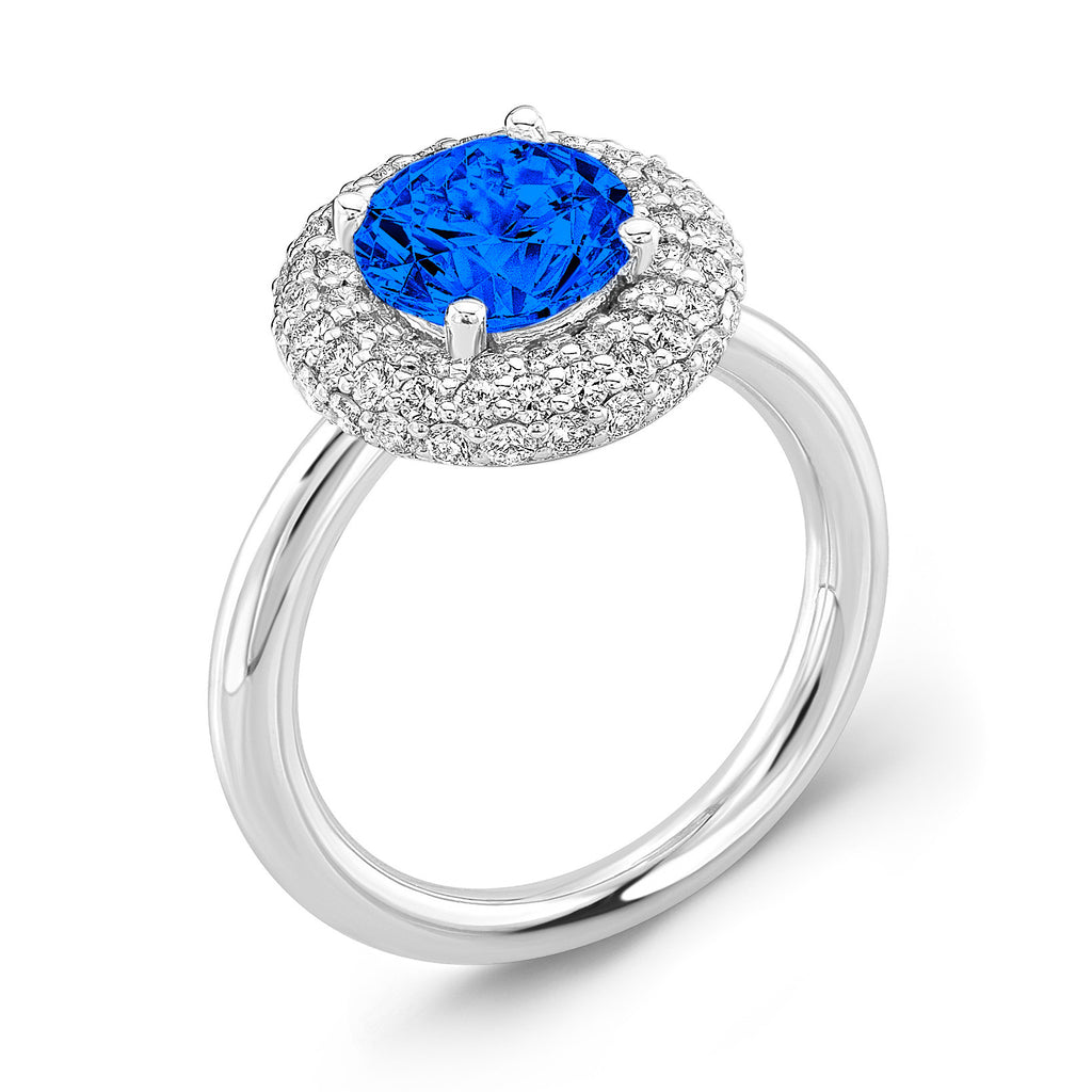 Diamond Roll (Blue Sapphire with Diamonds) - Dafina Jewelry - 1