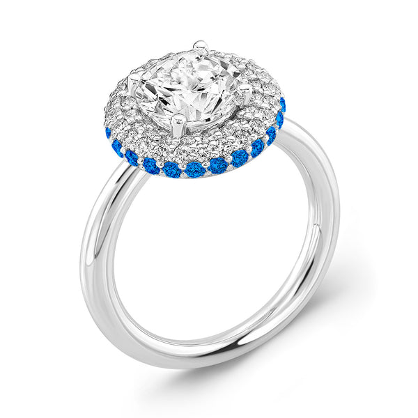 Diamond Roll (Diamond with Blue Sapphires) - Dafina Jewelry - 1