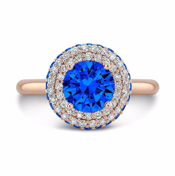 Diamond Roll Blue Sapphire Engagement Ring
