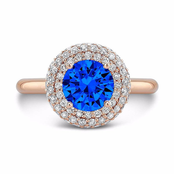 Diamond Roll (Blue Sapphire with Diamonds) - Dafina Jewelry - 4