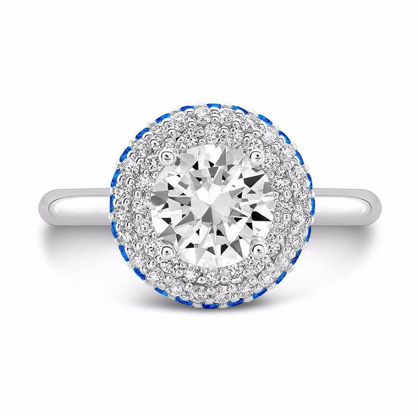 Diamond Roll (Diamond with Blue Sapphires) - Dafina Jewelry - 2