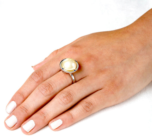 Globe Ring (14K Gold with Sapphires) - Dafina Jewelry - 3