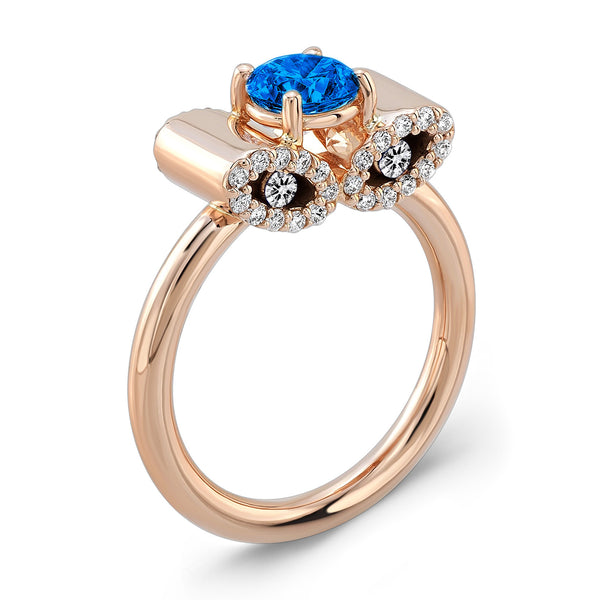 Light Trap (Blue Sapphire with Diamonds) - Dafina Jewelry - 3