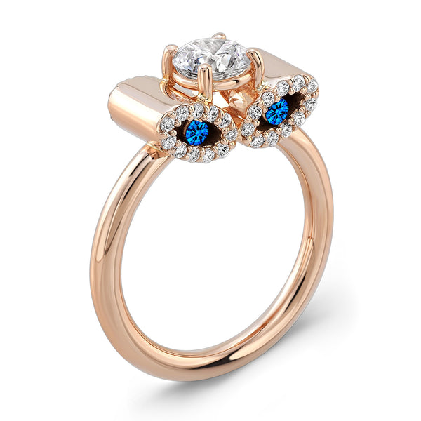 Light Trap (Diamond with Blue Sapphires) - Dafina Jewelry - 3