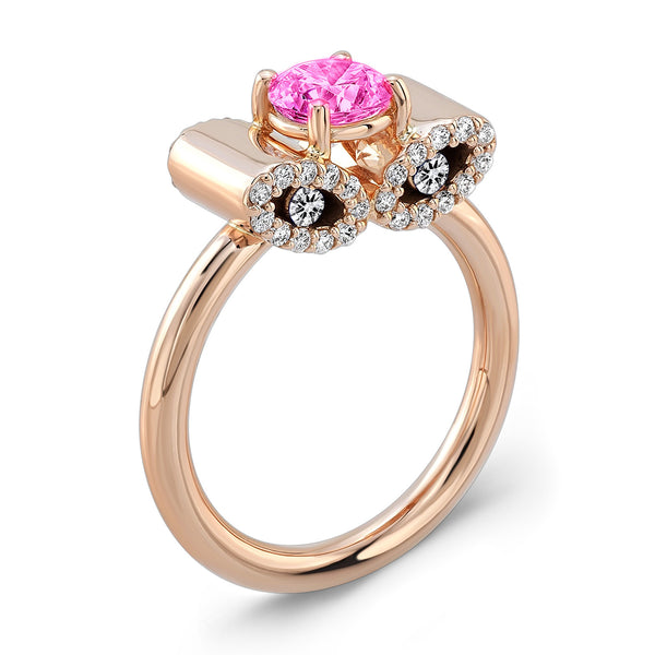 Light Trap (Pink Sapphire with Diamonds) - Dafina Jewelry - 3