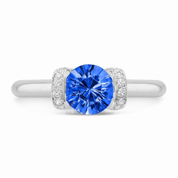 Link (Blue Sapphire Engagement Ring with Diamond Accents)