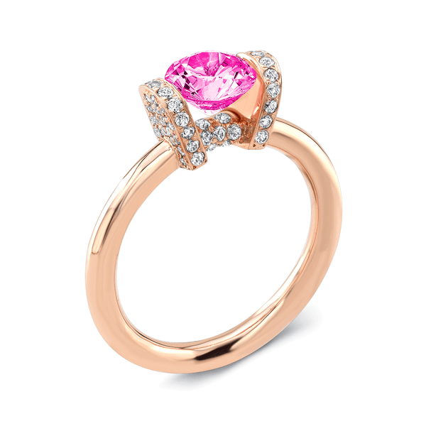 Link (Pink Sapphire with Diamonds) - Dafina Jewelry - 4