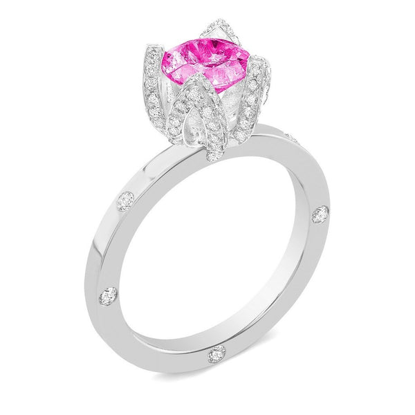 Lotus (Pink Sapphire with Diamonds) - Dafina Jewelry - 1