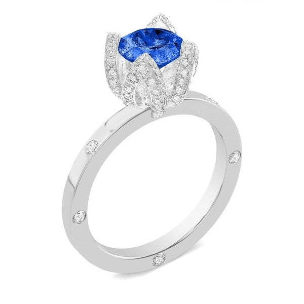 Lotus (Blue Sapphire with Diamonds) - Dafina Jewelry - 1