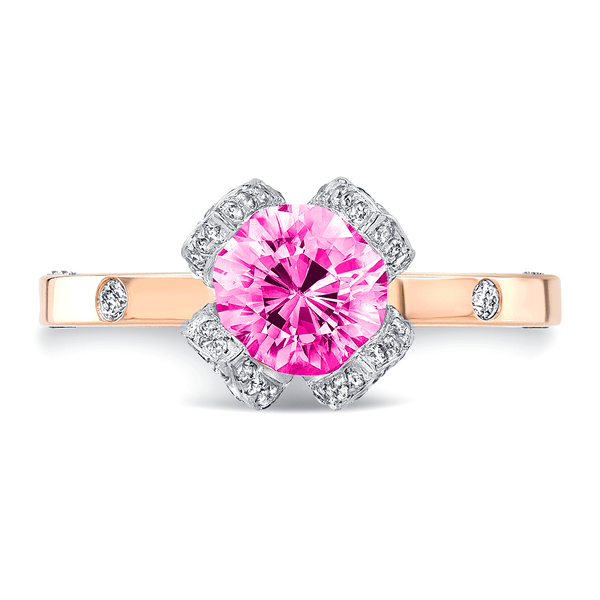 Lotus (Pink Sapphire with Diamonds) - Dafina Jewelry - 5