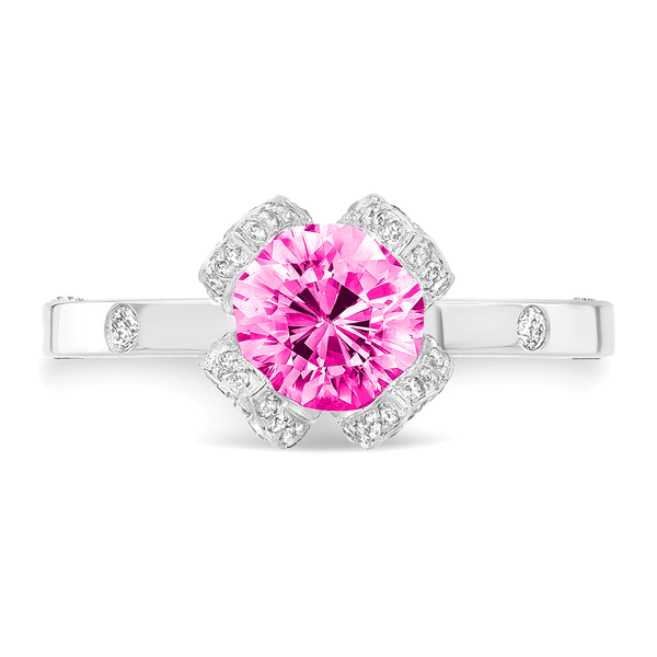 Lotus (Pink Sapphire with Diamonds) - Dafina Jewelry - 2