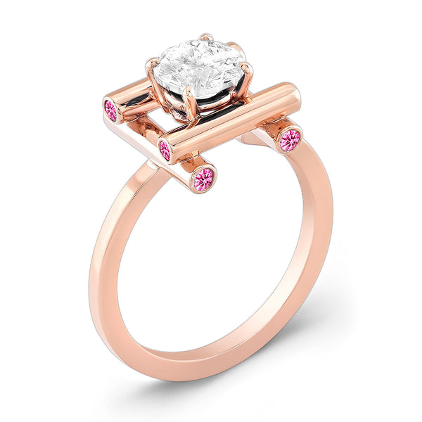 Love Fire (Diamond with Pink Sapphires) - Dafina Jewelry - 3