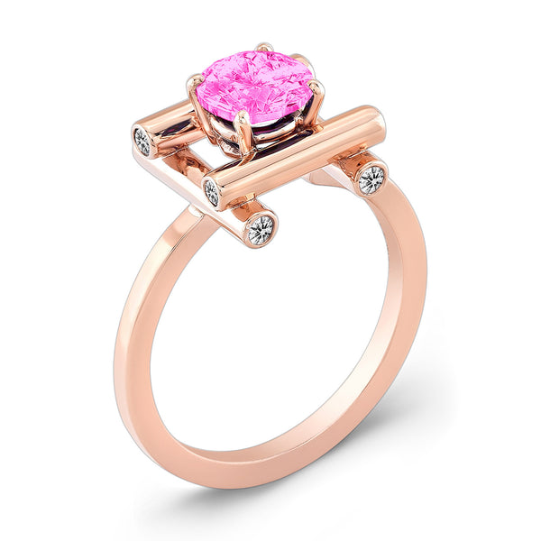 Love Fire (Pink Sapphire with Diamonds) - Dafina Jewelry - 3