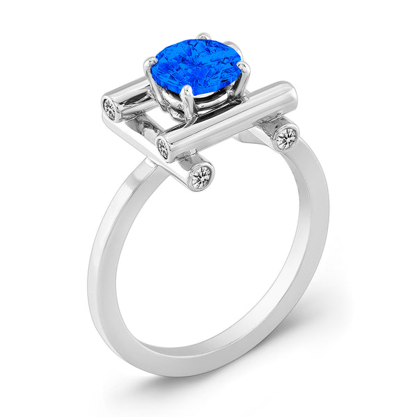 Love Fire (Blue Sapphire with Diamonds) - Dafina Jewelry - 1
