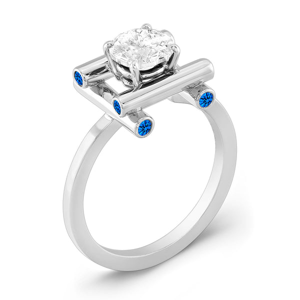 Love Fire (Diamond with Blue Sapphires) - Dafina Jewelry - 1