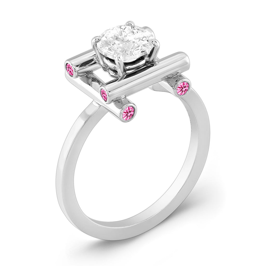 Love Fire (Diamond with Pink Sapphires) - Dafina Jewelry - 1
