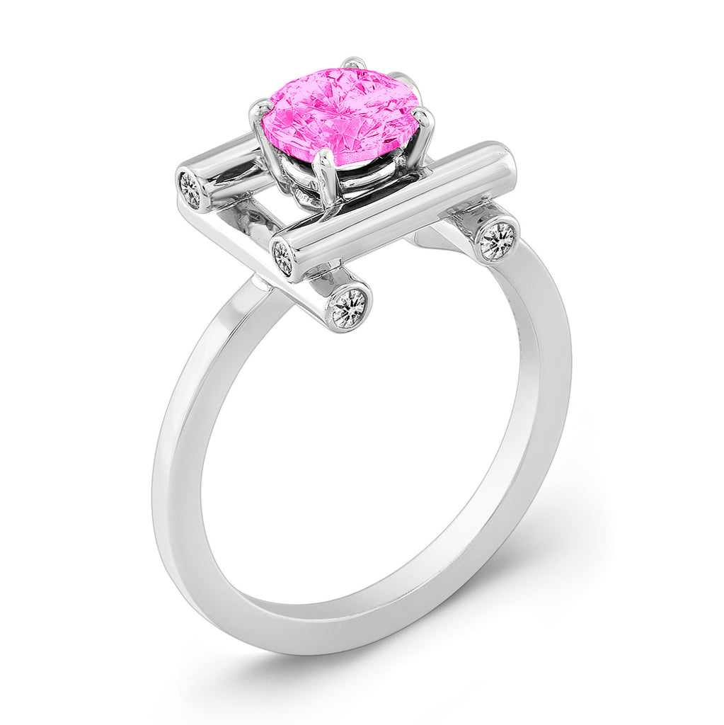 Love Fire (Pink Sapphire with Diamonds) - Dafina Jewelry - 1