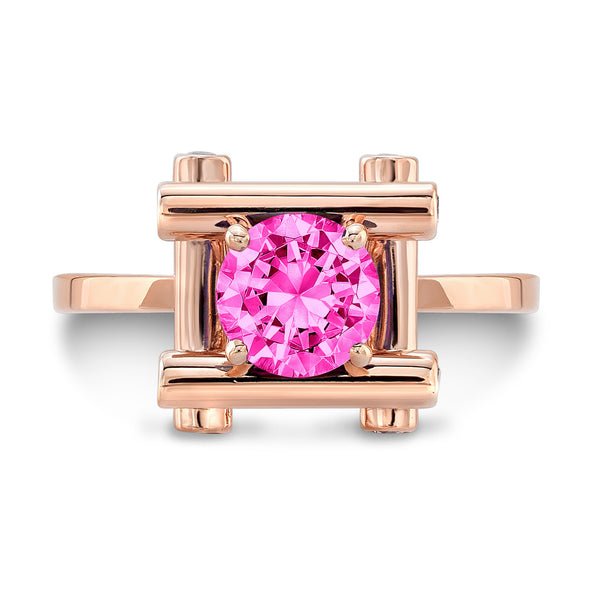 Love Fire (Pink Sapphire with Diamonds) - Dafina Jewelry - 4