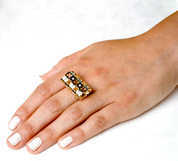 Majesty Ring (14K Gold with Pink Sapphires) - Dafina Jewelry - 3