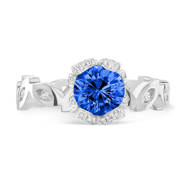 Marquise (Blue Sapphire with Diamonds) - Dafina Jewelry - 2