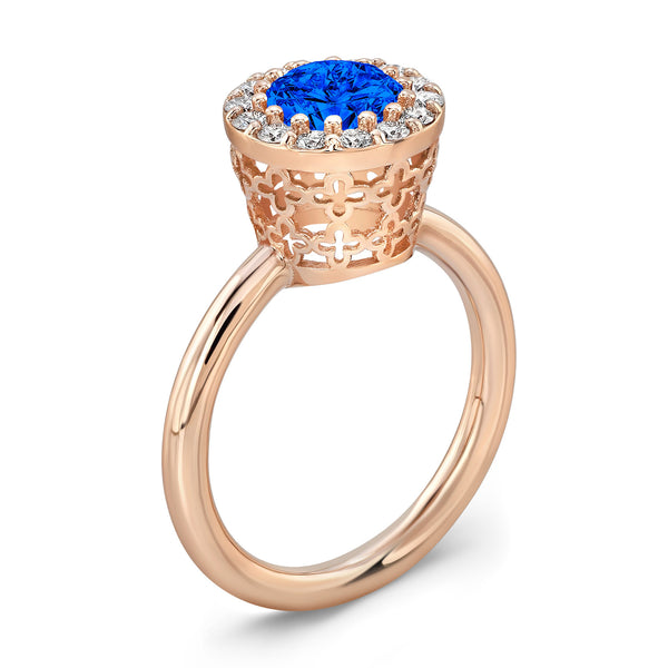 Tall Merlot® (Blue Sapphire with Diamonds) - Dafina Jewelry - 3