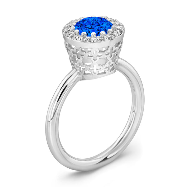 Tall Merlot® (Blue Sapphire with Diamonds) - Dafina Jewelry - 1