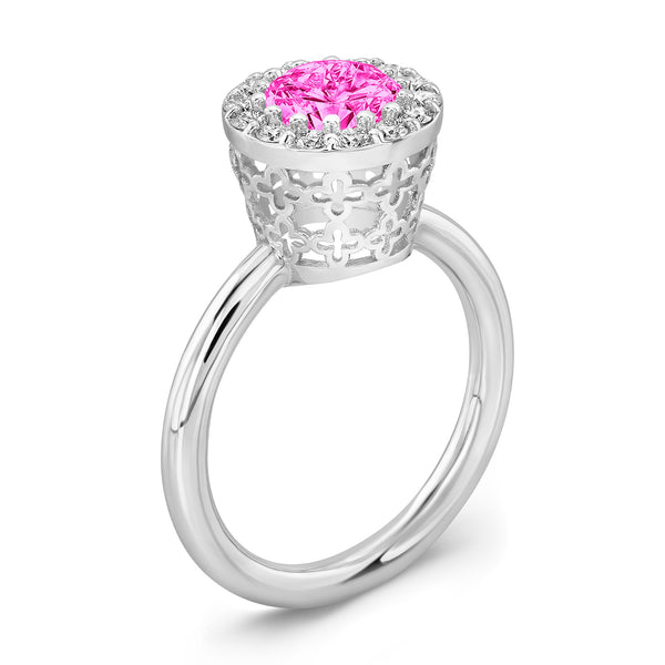 Tall Merlot® (Pink Sapphire with Diamonds) - Dafina Jewelry - 1